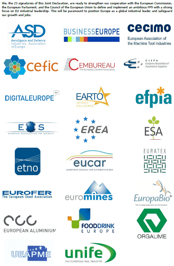 An Ambitious FP9 Strengthening Europe's Industrial Leadership – Joint Declaration by Industry and RTOs