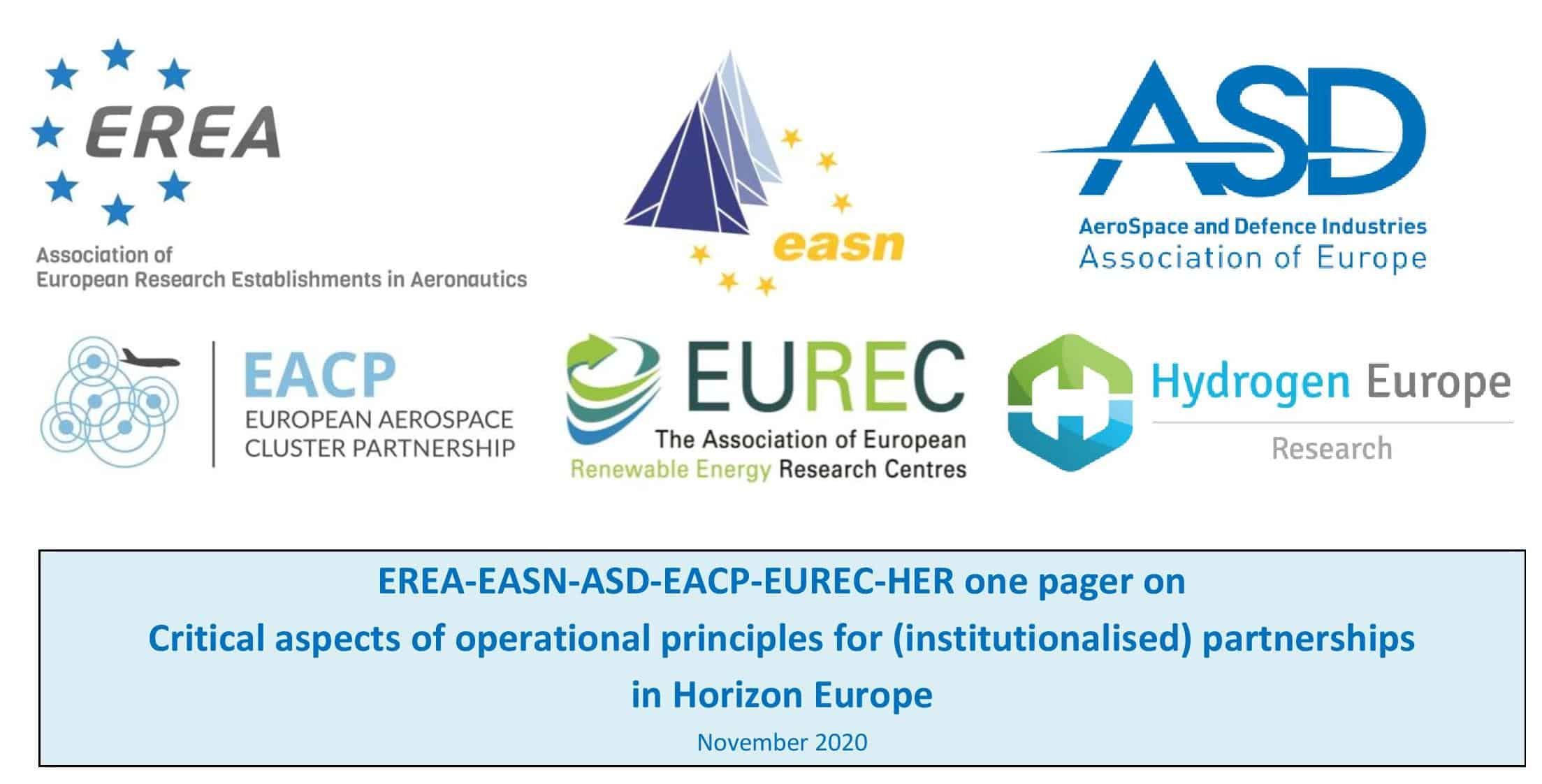 """EREA, EASN, ASD, EACP, EUREC and HER sign a Joint paper on """"Critical aspects of operational principles for (institutionalised) partnerships in Horizon Europe"""""""